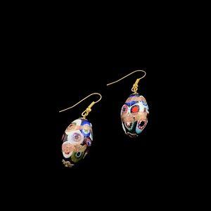Colorful Ceramic Metallic Dangle Earrings